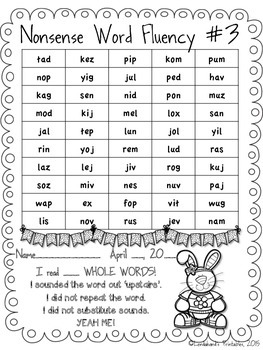 NWF - Nonsense Word Fluency FREEBIE from Ms. Lendahand