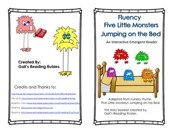 Fluency Five Little Monsters Jumping On the Bed Interactiv