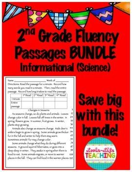 Fluency Passages 2nd Grade Informational Science BUNDLE wi