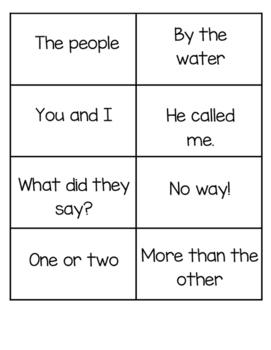 Fluency Phrase Flashcards