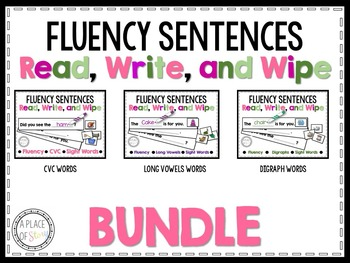 Fluency Sentences Read, Write, and Wipe Center (GROWING BUNDLE)