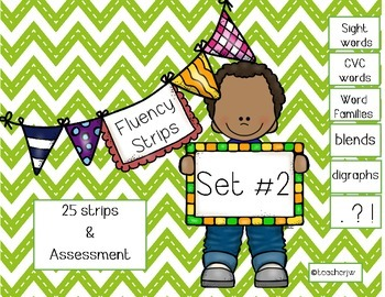 Fluency Strips (Set #2)- focus on sight words, cvc, word f