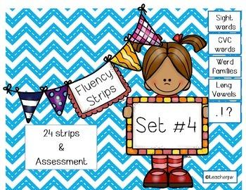 Fluency Strips (Set #4)- focus on sight words, blends, lon
