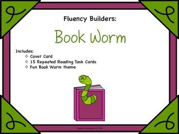 Fluency Task Cards - Book Worm Theme