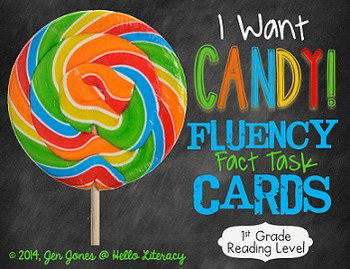 Fluency Task Cards {Candy Facts} for First Grade