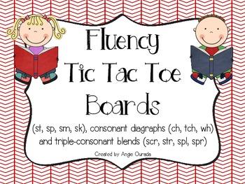 Fluency Tic Tac Toe Boards {st,sp,sm,sk,ch,tch,wh,scr,str,