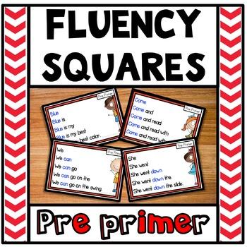 Reading Fluency Squares Pre Primer Freebie