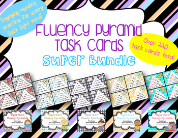 Fluency Pyramid Task Cards **Super Bundle** {5 sets, total