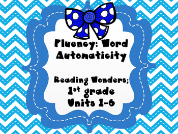 Fluency Word Automaticity for Reading Wonders 1st grade {U