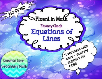 Linear Functions Fluency Check 4 More Versions:  No Prep F