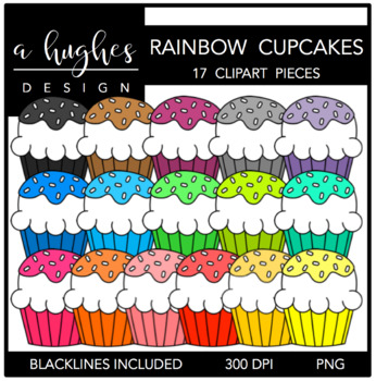 Fluffy Cupcakes Rainbow {Graphics for Commercial Use}