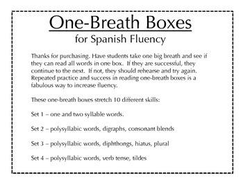 Fluidez - Spanish one-breath boxes + flashcards