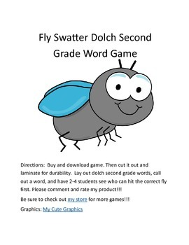 Flyswatter Second Grade Dolch Sight Word Game