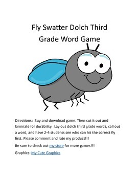 Flyswatter Third Grade Dolch Sight Word Game
