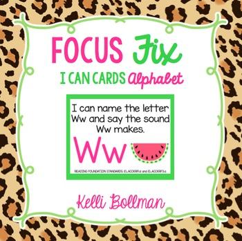 Focus Fix {I Can Cards} ALPHABET