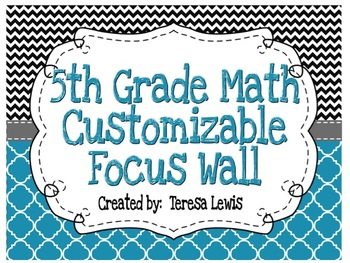 Focus Wall Customizable Black and Blue 5th Grade Math CCSS