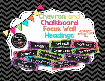 Focus Wall Headings in Chevrons and Chalkboard - EDITABLE!