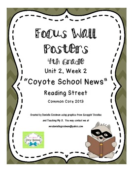 "4th Grade Focus Wall Posters ""Coyote School News""  Reading"