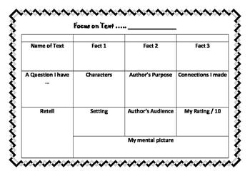 Focus on Text - Book Response