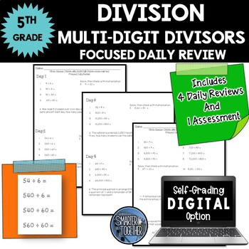 Multi-Digit Division - Focused Daily Review - Whole Number
