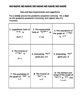 Fold and Pass Logarithmic quiz