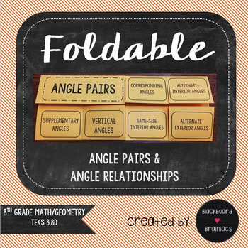 Foldable Angle Pairs & Relationships Transversal TEK 8.8D