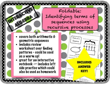 Foldable: Identify terms of a sequence using recursive processes