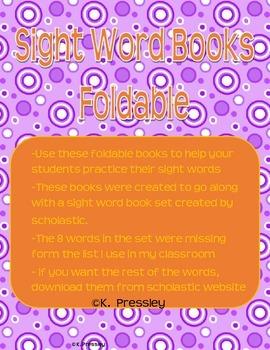 Foldable Sight Word Booklets-Kindergarten Practice!