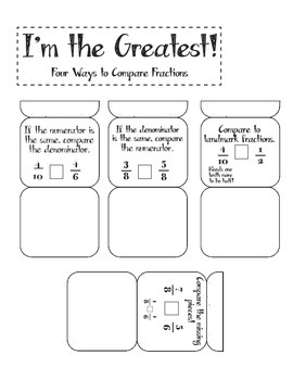 Foldable for Comparing Fractions