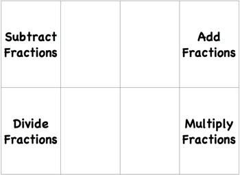 Foldable on Operations with Fractions