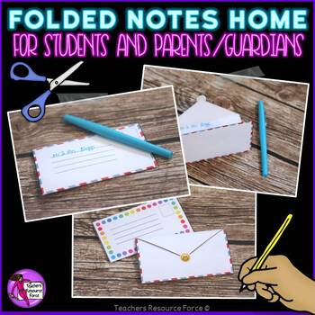 Folded notes home for parents / guardians