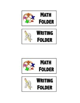Folder Labels- Math & Writing Folder