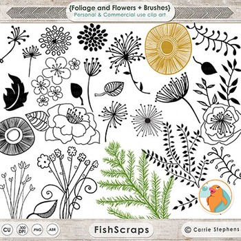 Foliage and Flowers Digital Stamps, Black Line Art