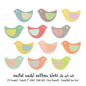 Folk Bird Clip Art, Pastel Colors, Polka Dots, Chevron, fo