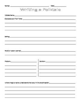 Folktale Writing Graphic Organizer and Student Checklist