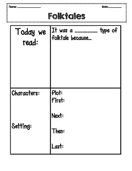 Folktales poster and Graphic Organizer