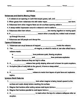 Follow Along Volcano Fill in the Blank Worksheet