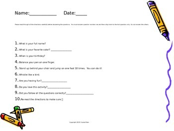 Follow Directions Activity