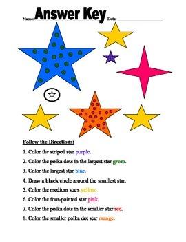 Following Directions Worksheet/ Following Written Directions