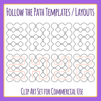 Follow the Path Layouts Clip Art Set for Commercial Use