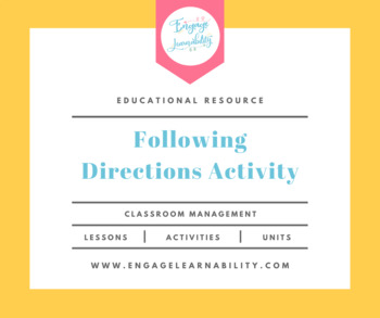 Following Directions Activity / First Week of School Activity