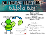 Following Directions; Build A Bug {Easy Prep Activity}