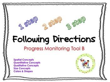 Following Directions Progress Monitoring Bundle: Set B