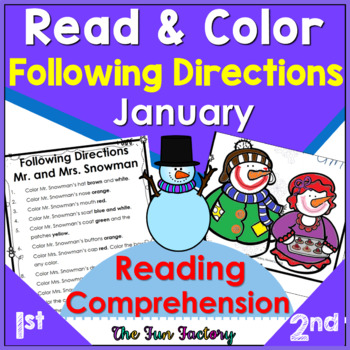 January~ Snowman~ Read and Follow Directions, Just Print,