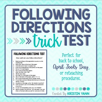 Following Directions Trick Test