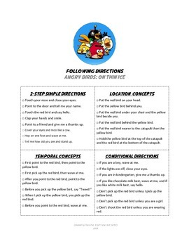 Following Directions with Angry Birds