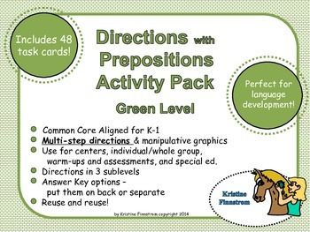 Following Directions with Preposition Green Level - Common Core