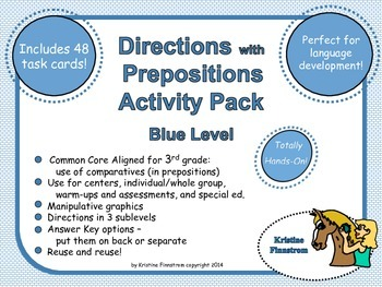 Following Directions with Prepositions Activity Pack Blue