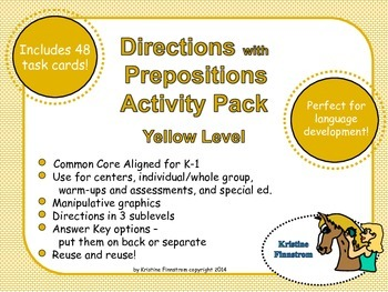 Following Directions with Prepositions Activity Pack Yello