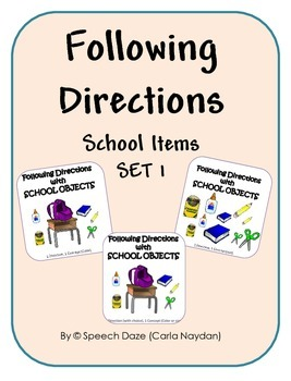 Following Directions with School Items Set 1